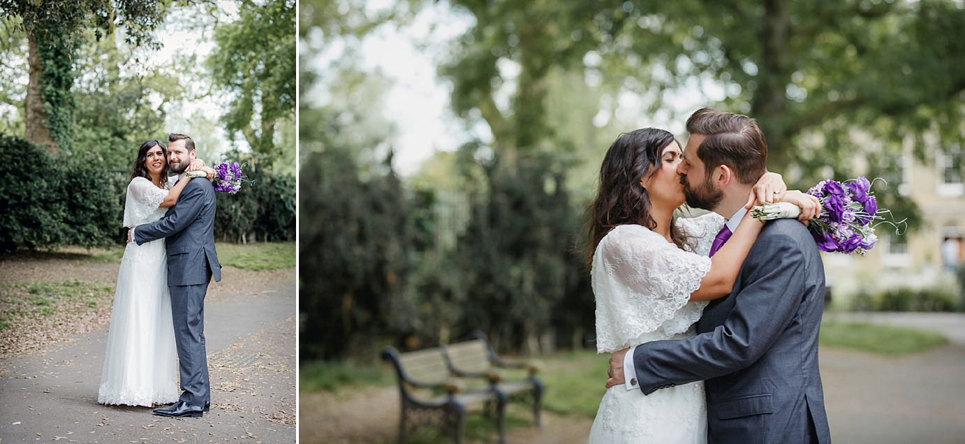Londesborough pub wedding photography groom and bride in clissold park