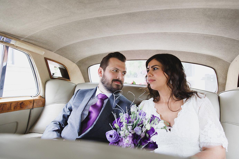 Londesborough pub wedding photography bride and groom inside wedding car