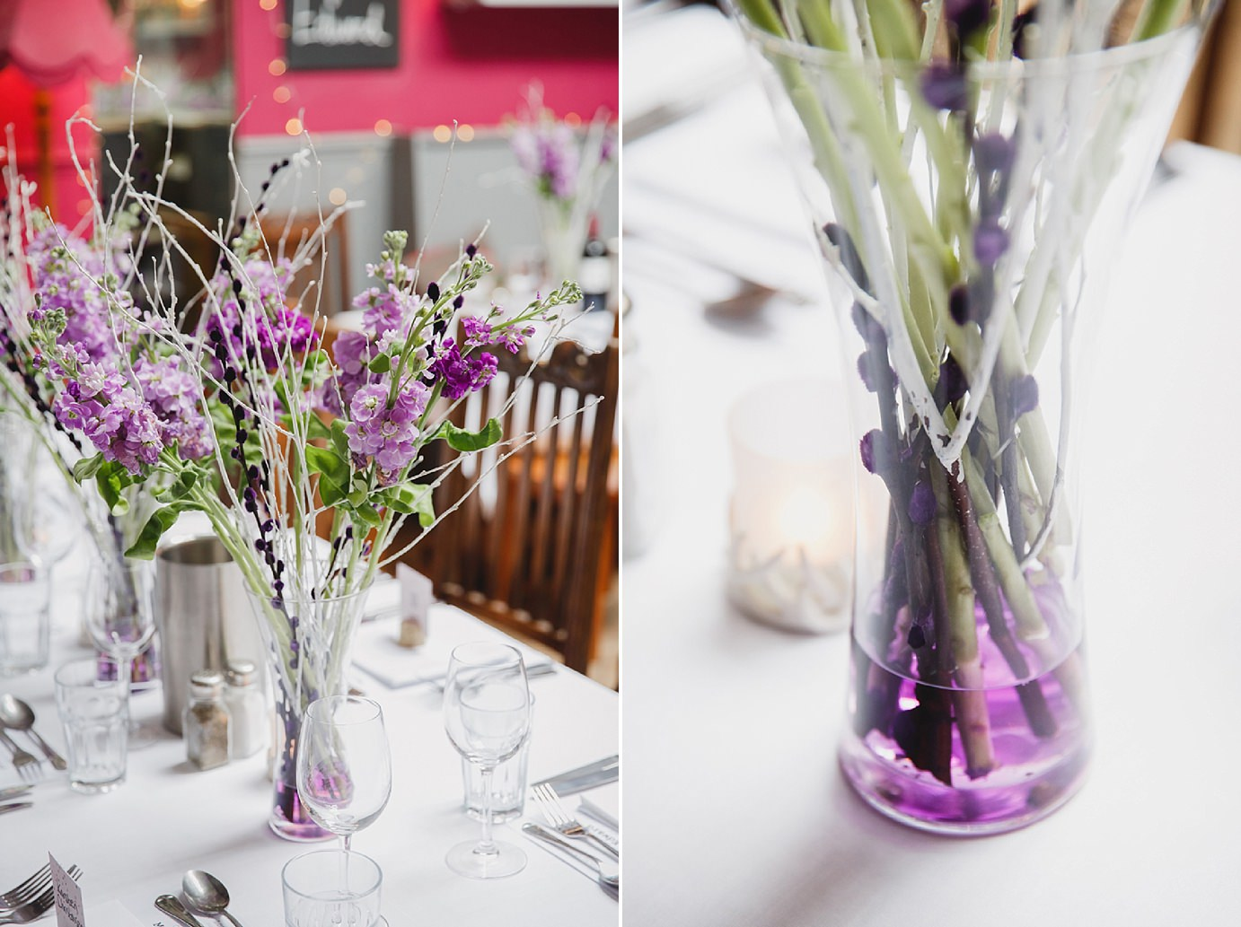 Londesborough pub wedding photography purple table flowers