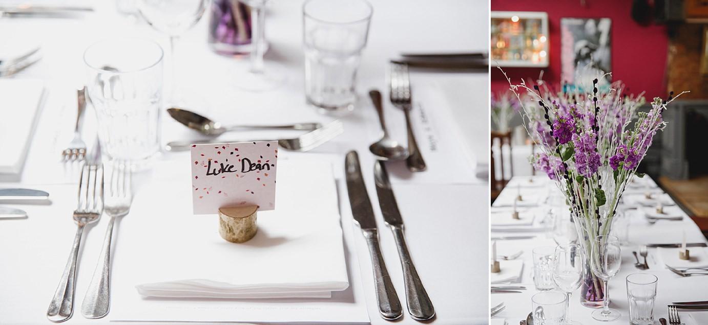 Londesborough pub wedding photography table place name