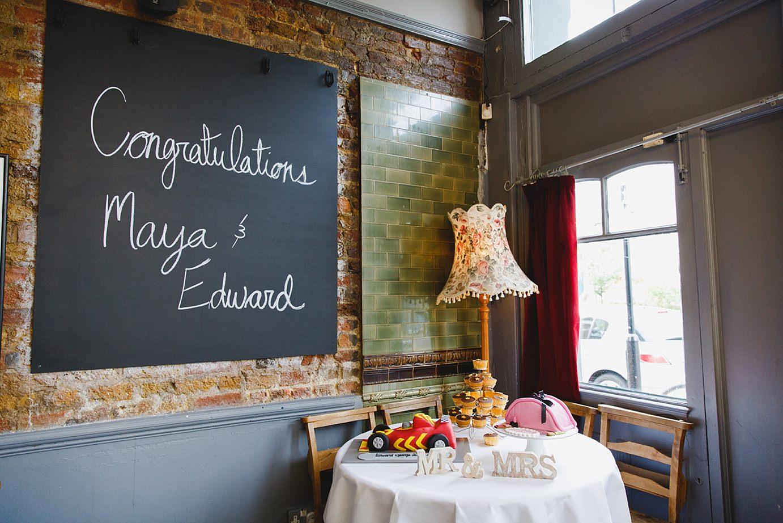 Londesborough pub wedding photography wedding cakes and chalkboard