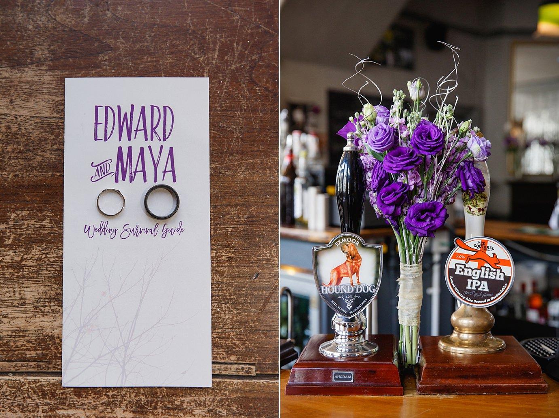 Londesborough pub wedding photography wedding rings and bouquet