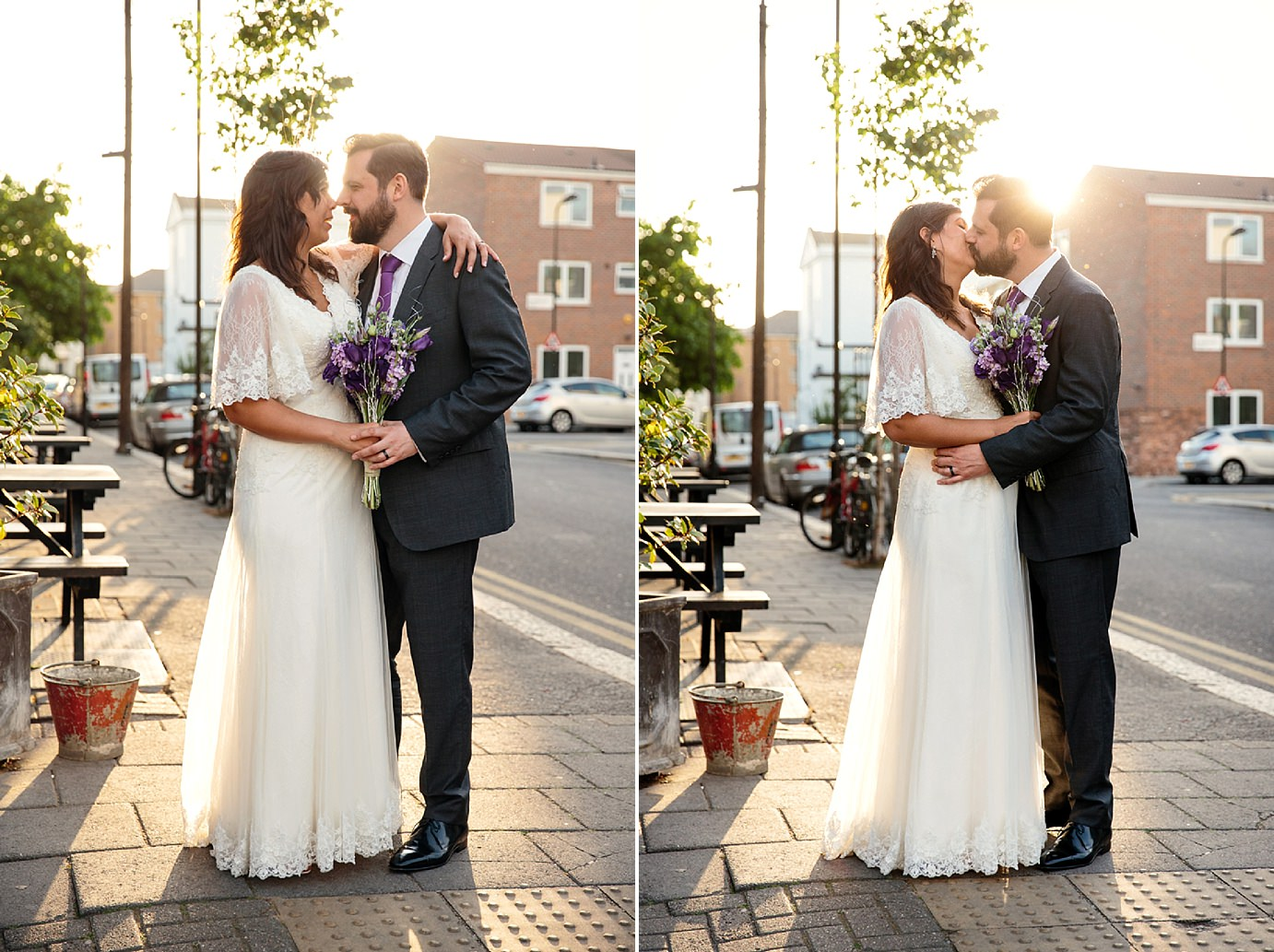 Londesborough pub wedding photography portrait of bride and groom at sunset