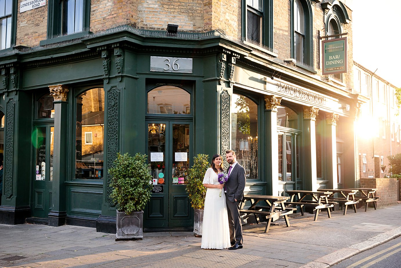Londesborough pub wedding photography bride and groom outside pub