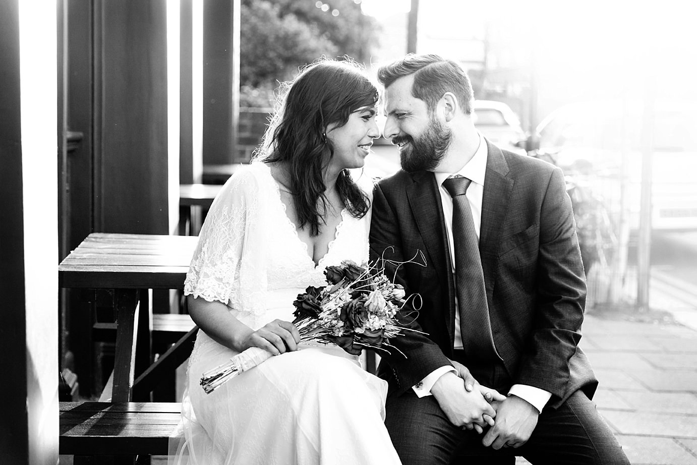 Londesborough pub wedding photography bride and groom smile together