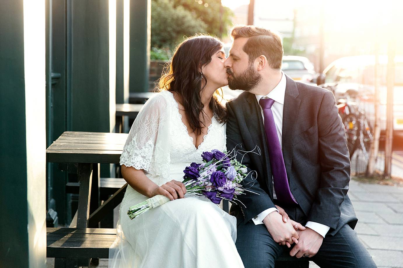 Londesborough pub wedding photography groom and bride kiss