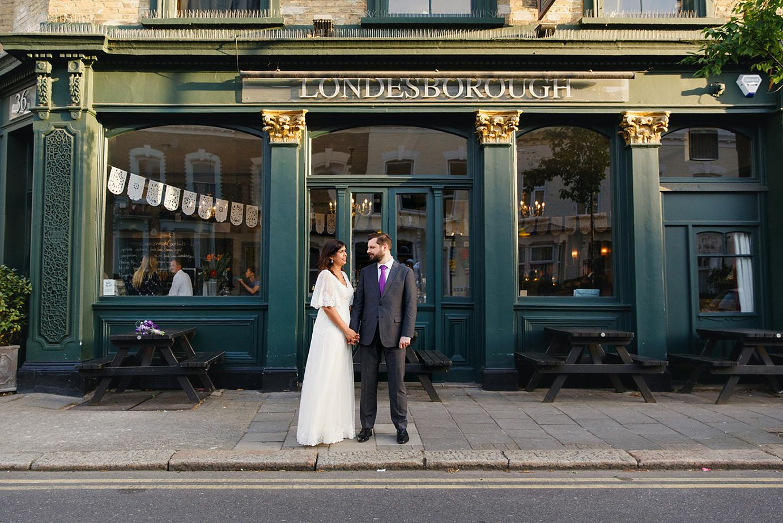 Londesborough pub wedding photography bride and groom outside the pub