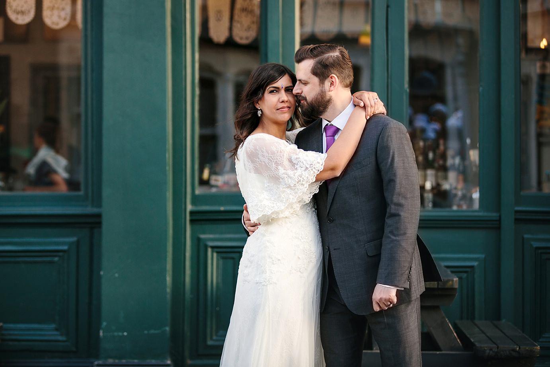 Londesborough pub wedding photography bride hugging groom