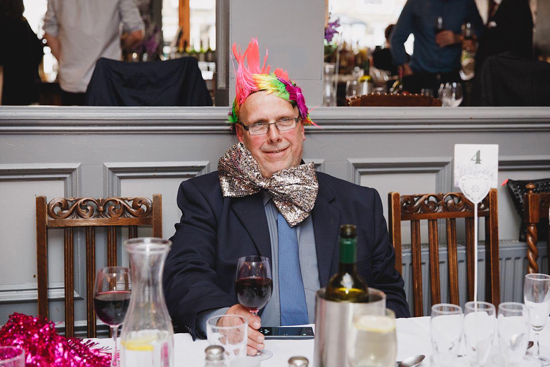 Londesborough pub wedding photography guest in wig
