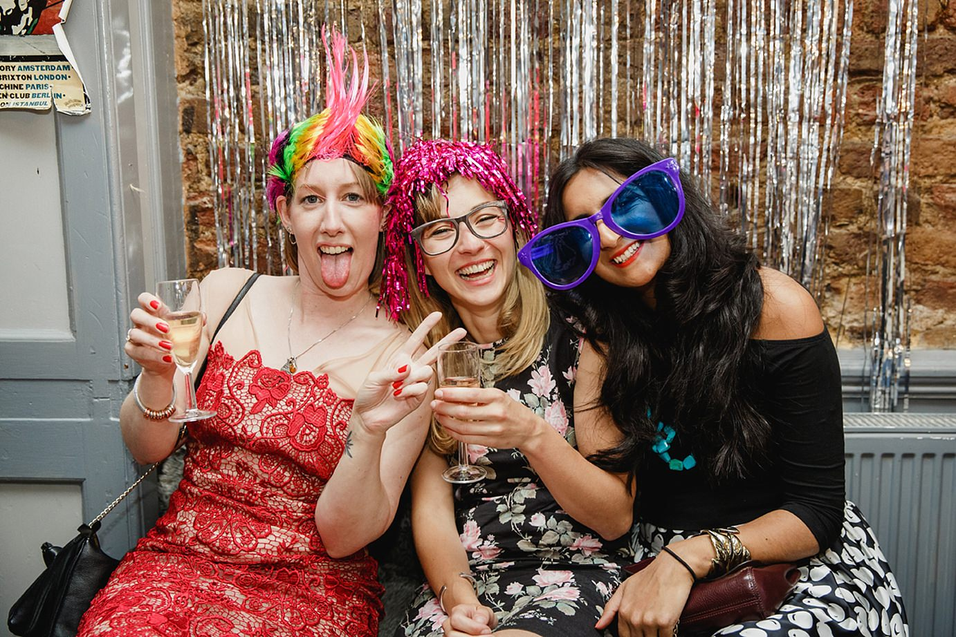 Londesborough pub wedding photography wedding guests in Photo Booth