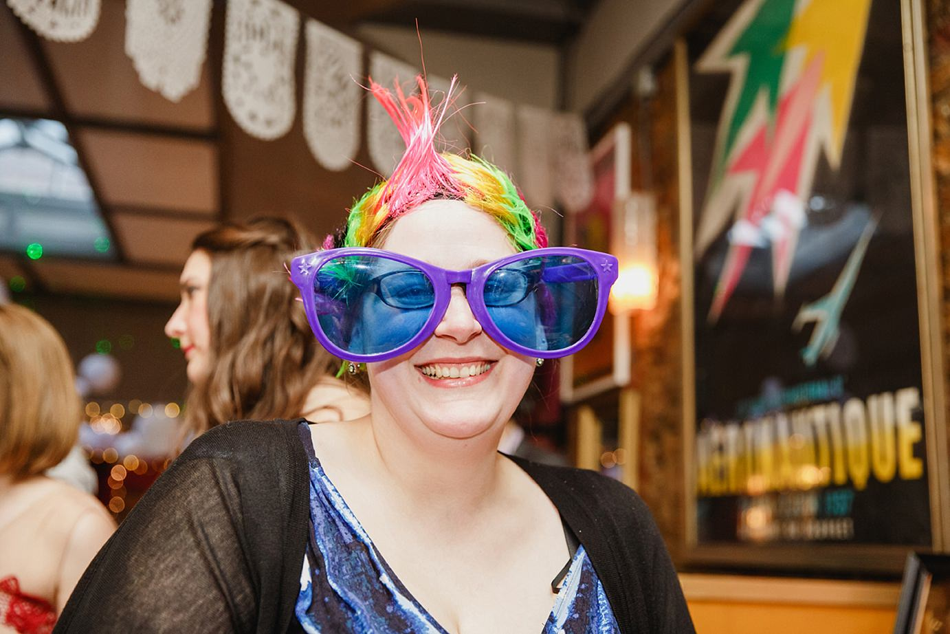 Londesborough pub wedding photography wedding guest with giant glasses