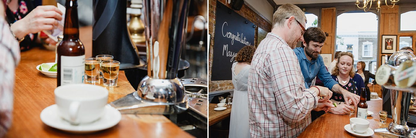 Londesborough pub wedding photography guests at bar