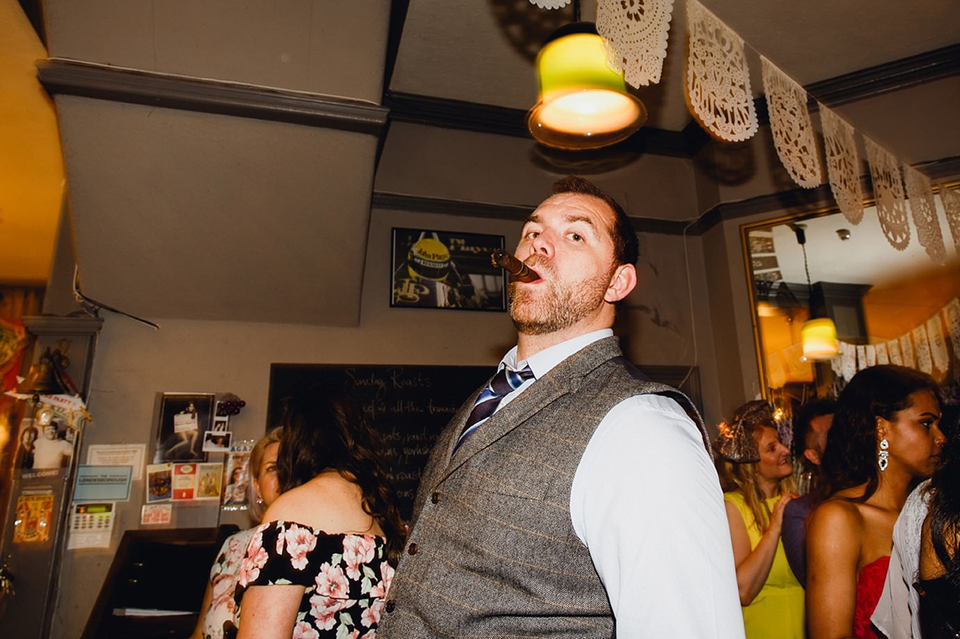 Londesborough pub wedding photography guest with cigar
