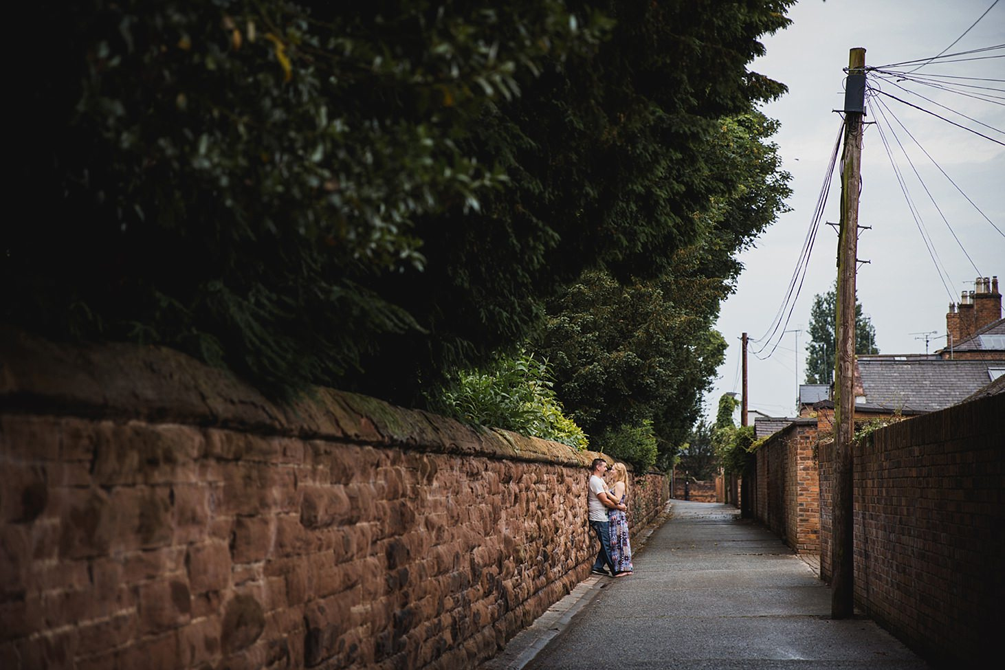 chester engagement shoot couple in pathway
