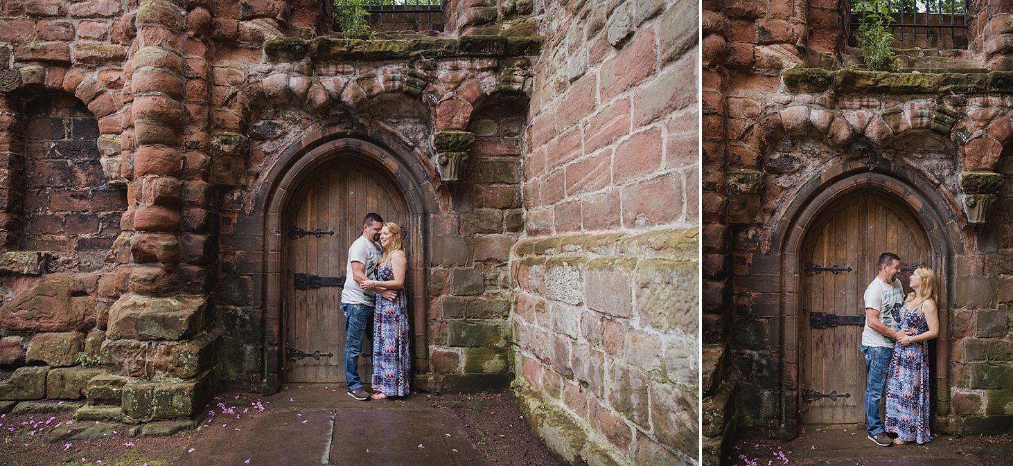 chester engagement shoot couple in ruins doorway