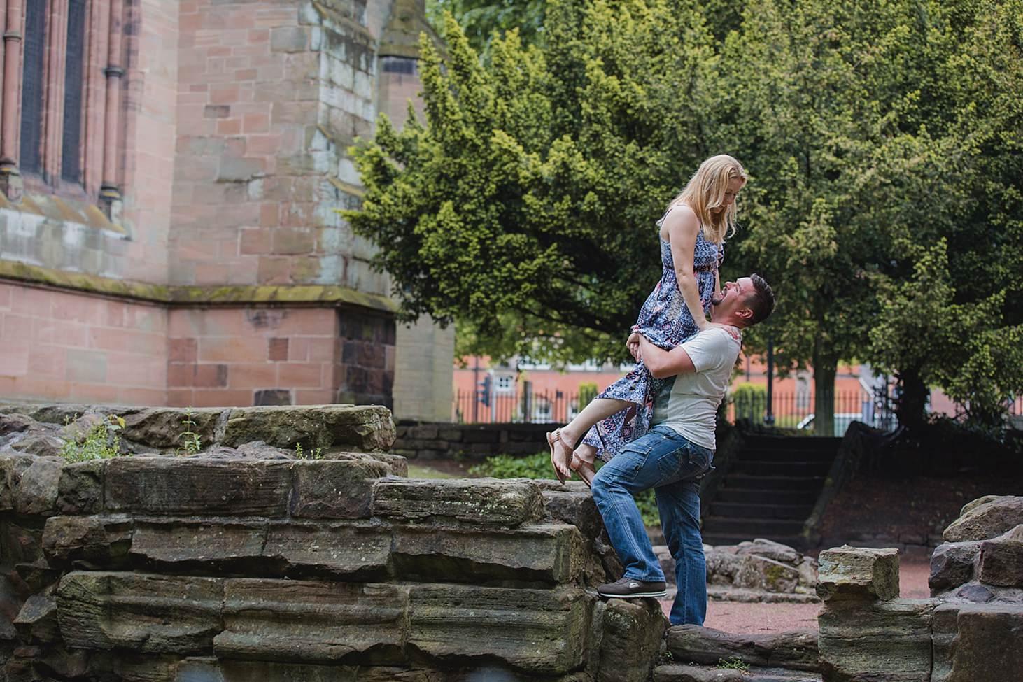 chester engagement shoot fun couple portrait