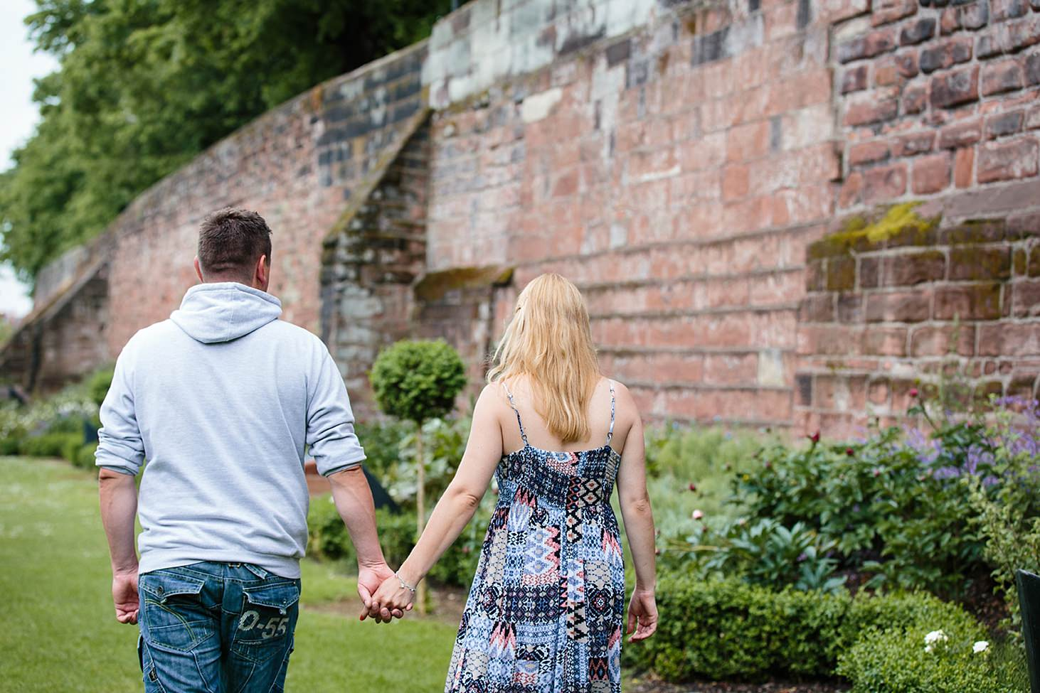 chester engagement shoot couple walking