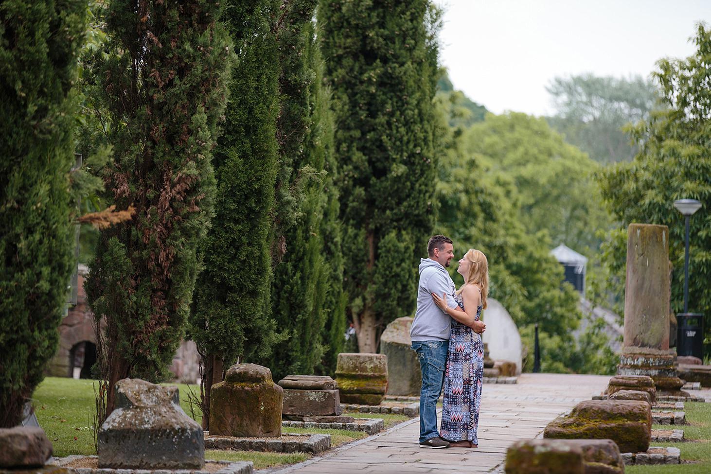 chester engagement shoot roman gardens