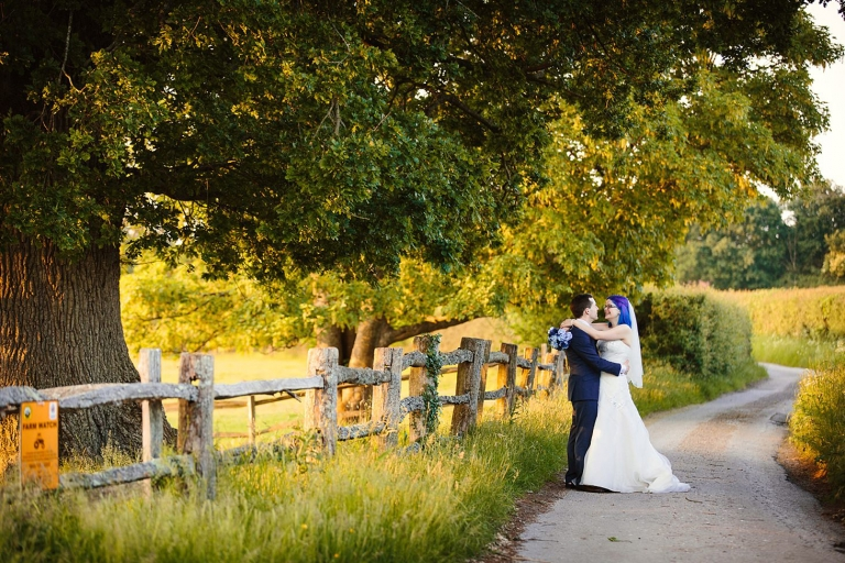 gate street barn wedding photography bride and groom in golden hour