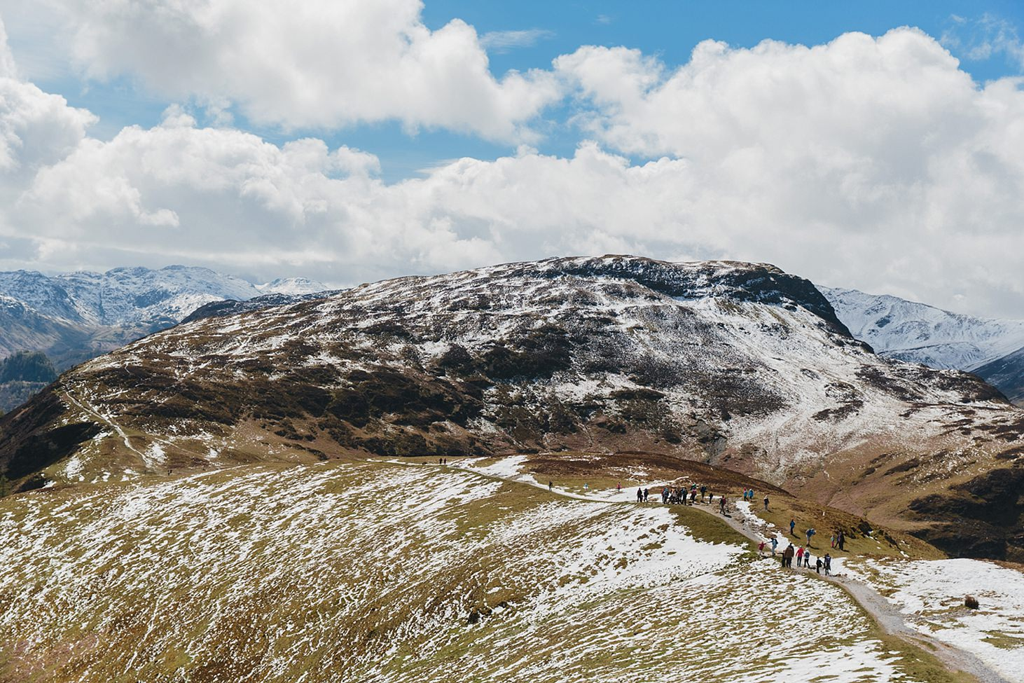 lake district travel photography snowy summit on fells
