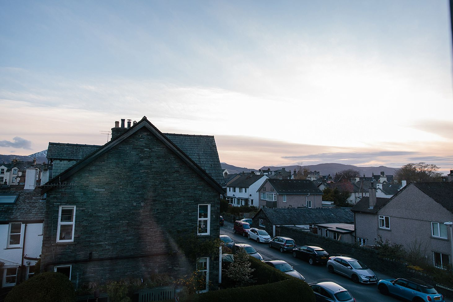 lake district travel photography sunset view from window