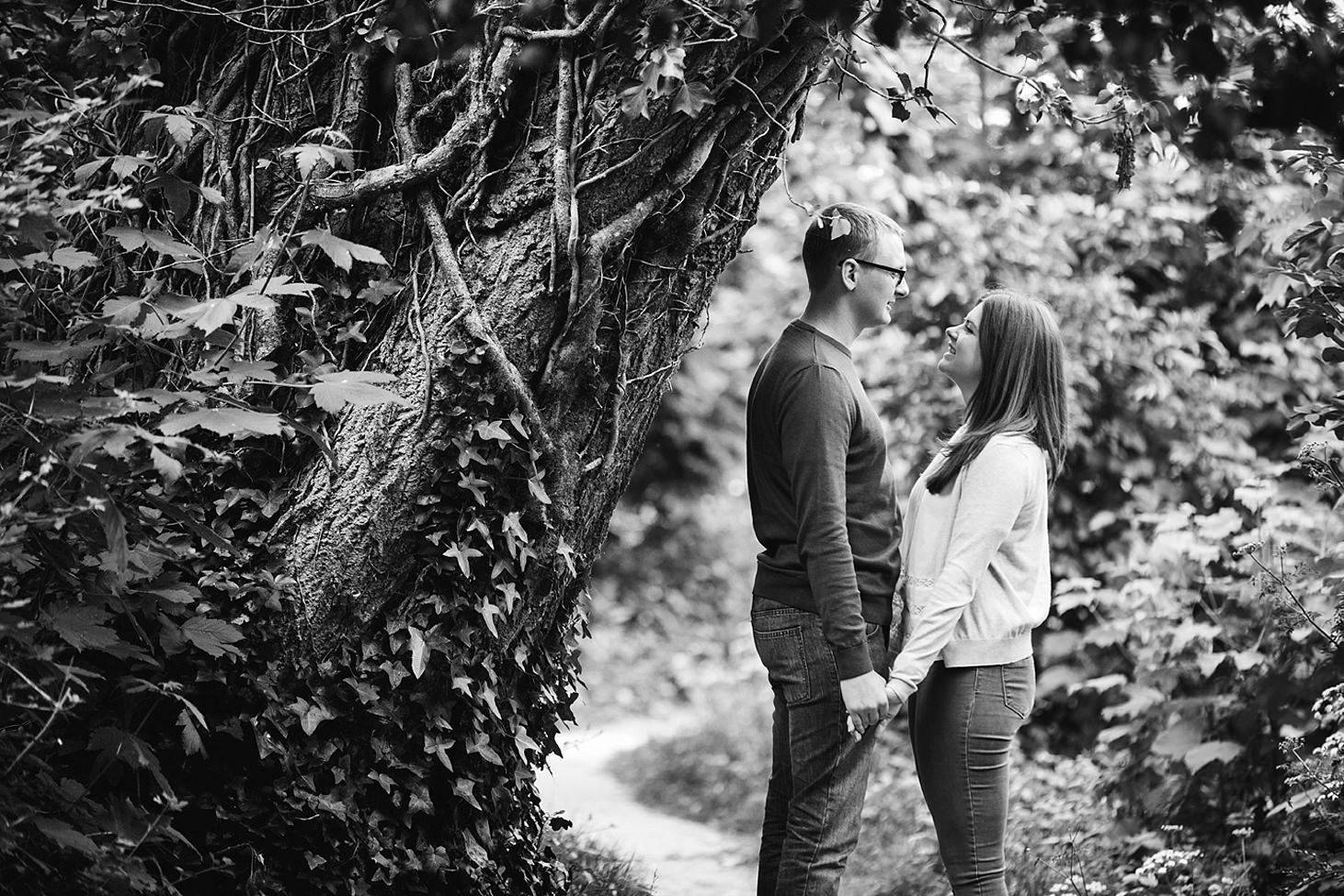arundel engagement shoot couple by tree
