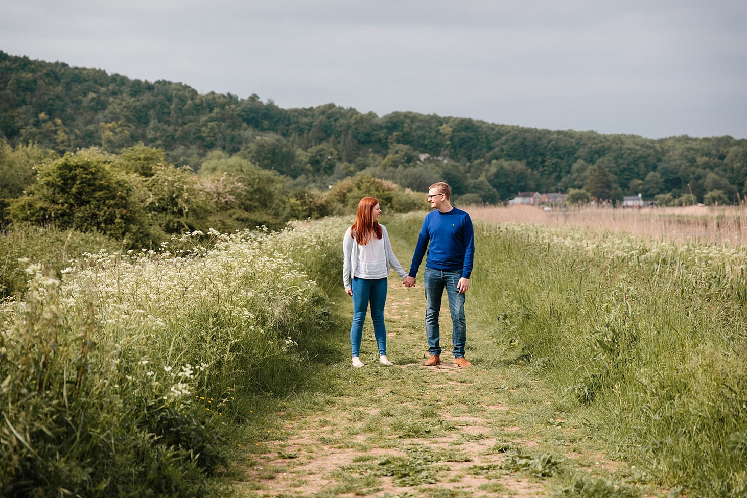 arundel engagement shoot couple in pathway