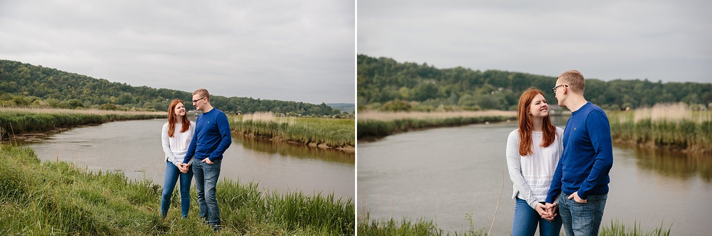 arundel engagement shoot couple by river