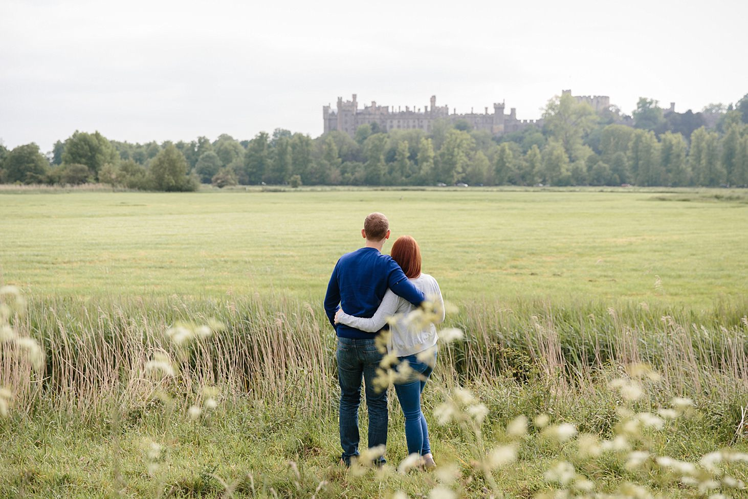 arundel engagement shoot couple with arundel castle