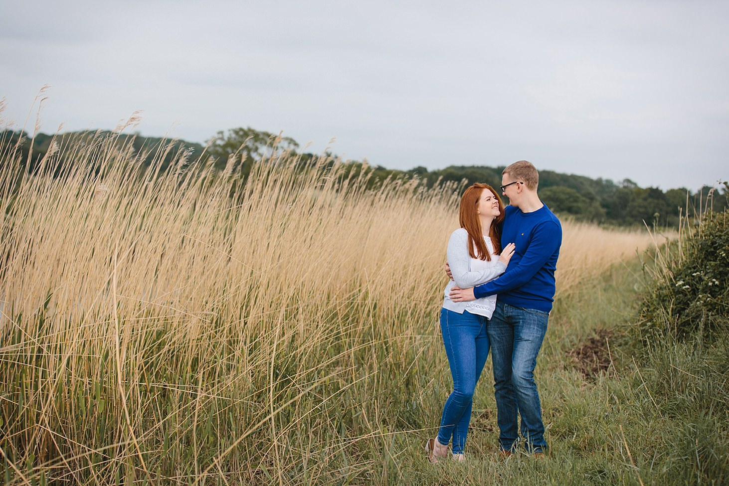 arundel engagement shoot couple by grasses