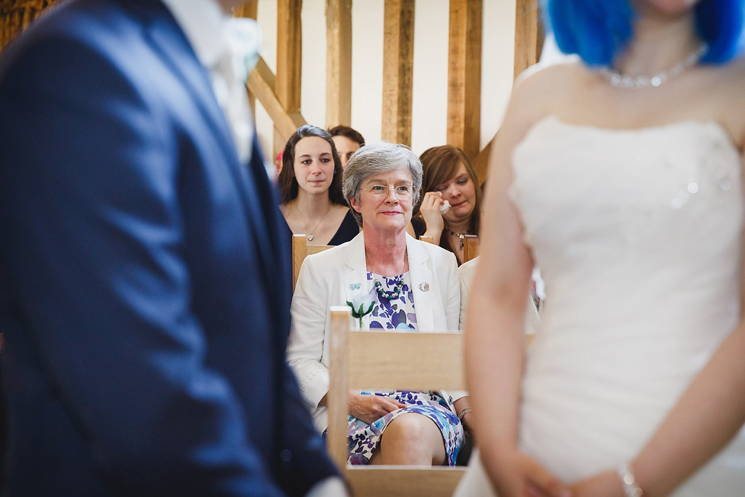 gate street barn wedding photography mother of bride during ceremony