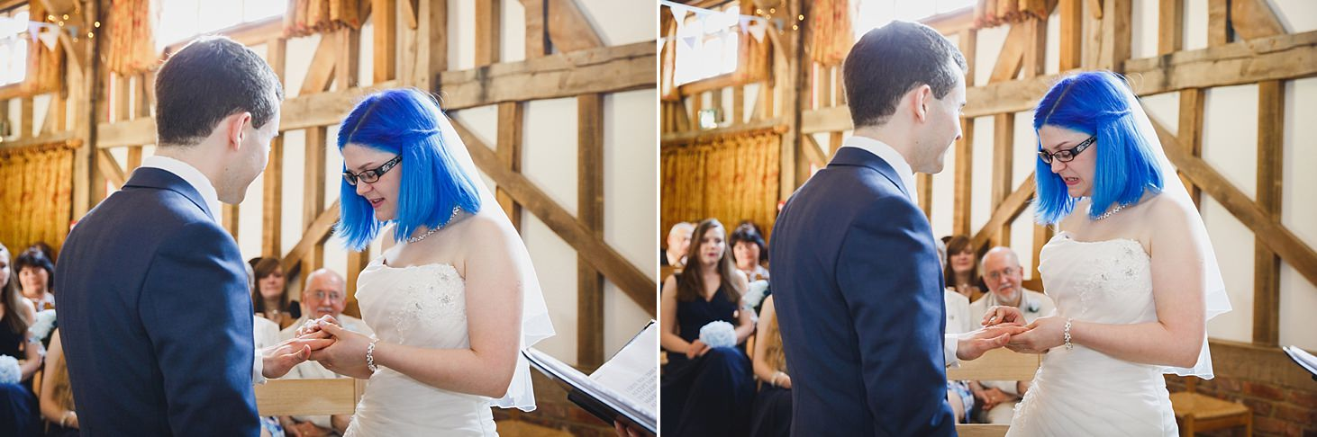 gate street barn wedding photography bride and groom reading vows