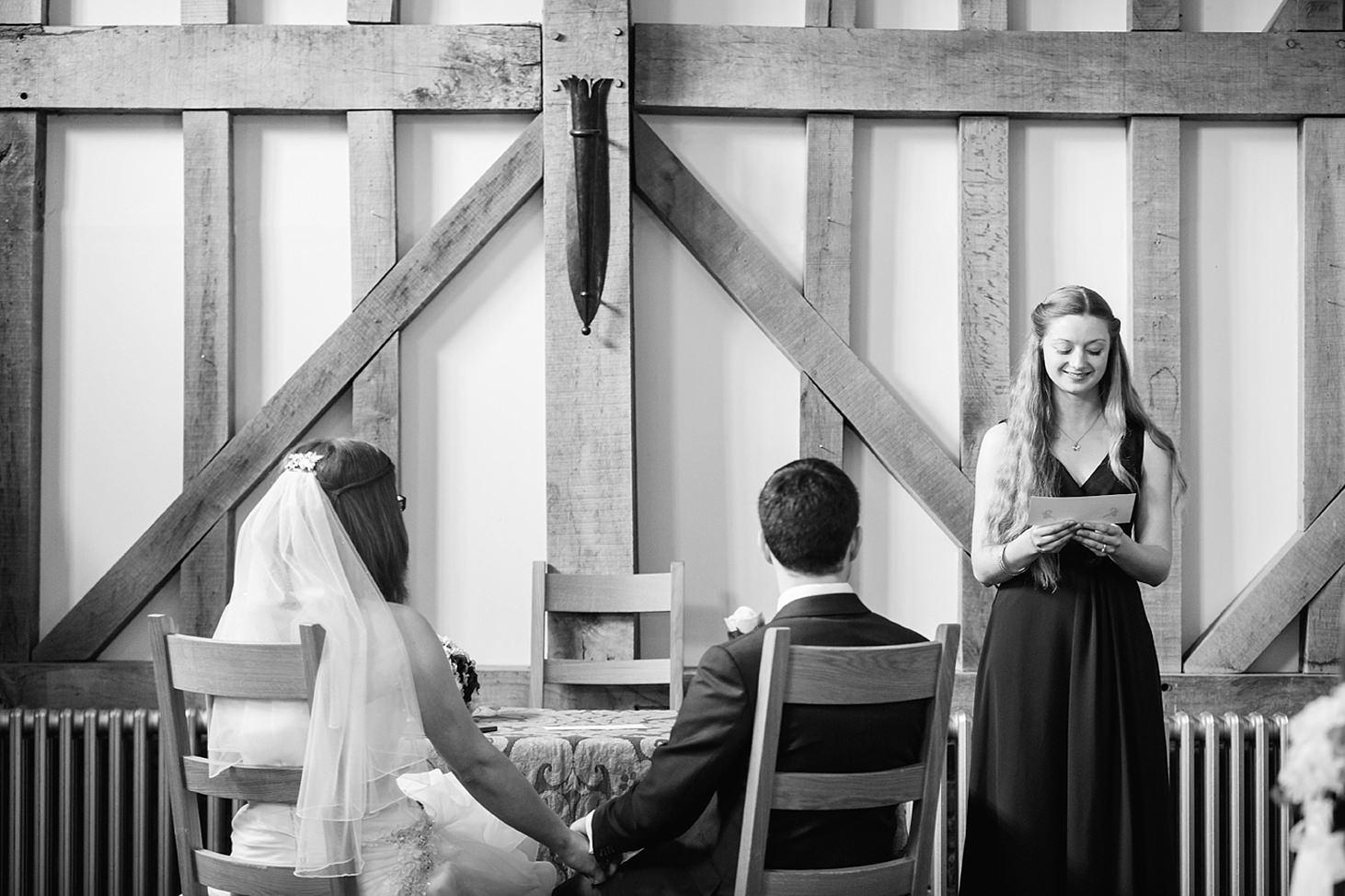 gate street barn wedding photography bridesmaid giving reading