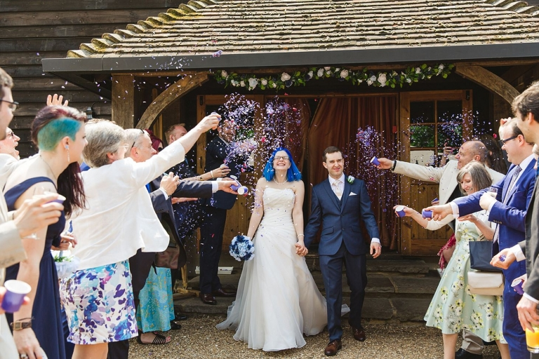 gate street barn wedding photography guests throwing confetti