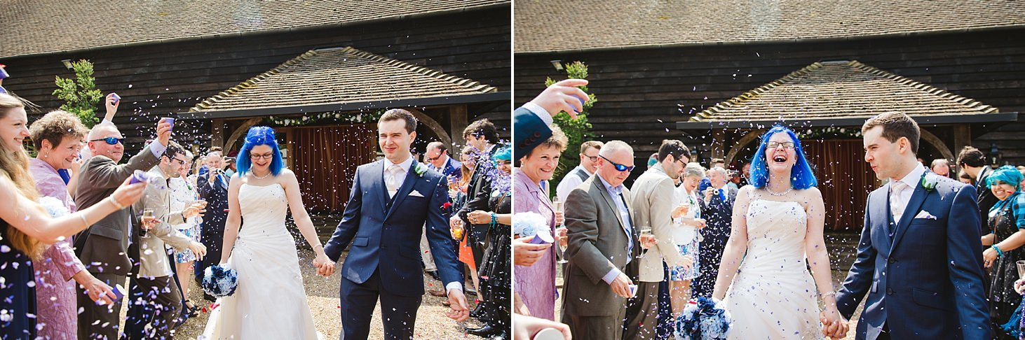 gate street barn wedding photography bride and groom confetti