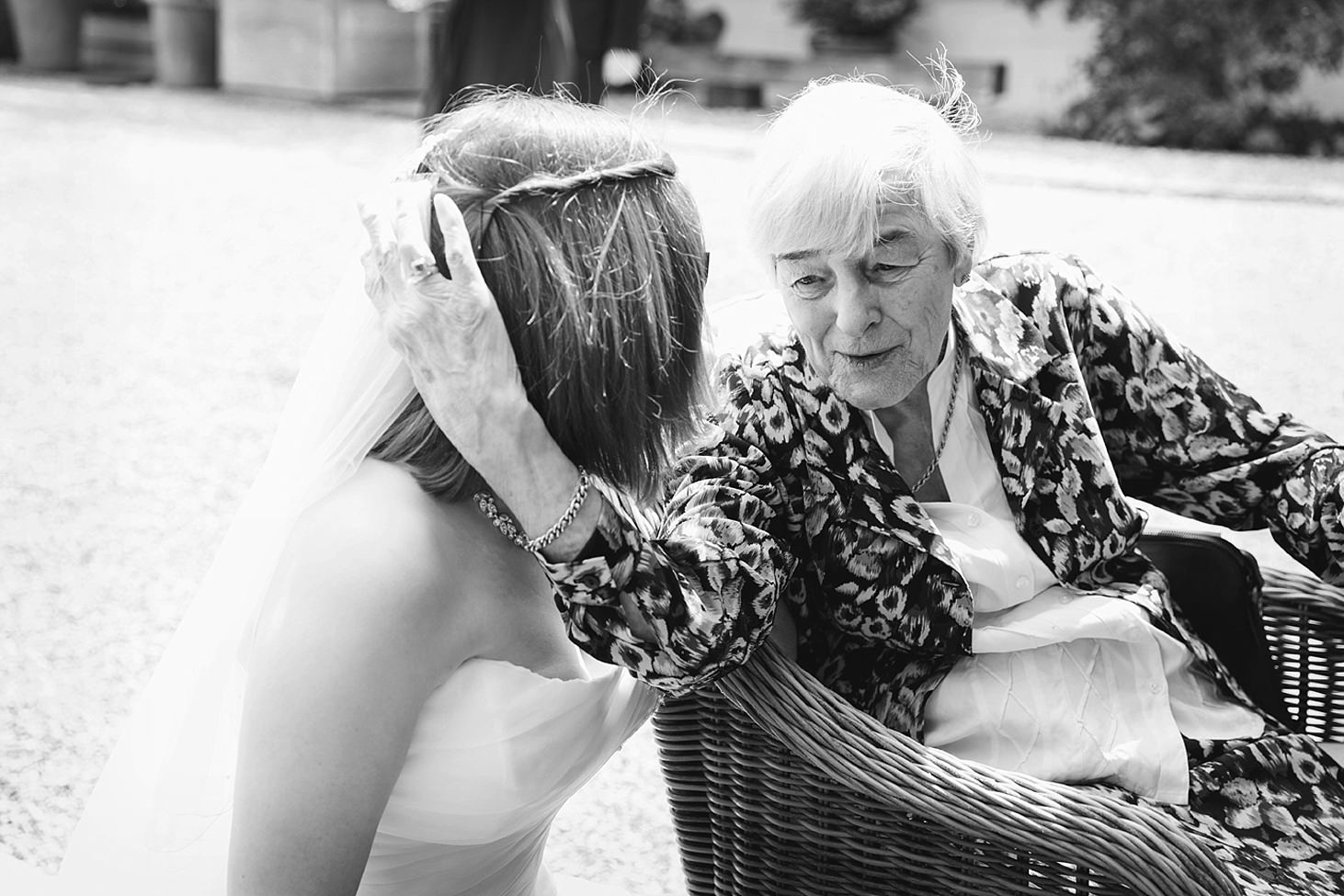 gate street barn wedding photography portrait of bride with grandmother