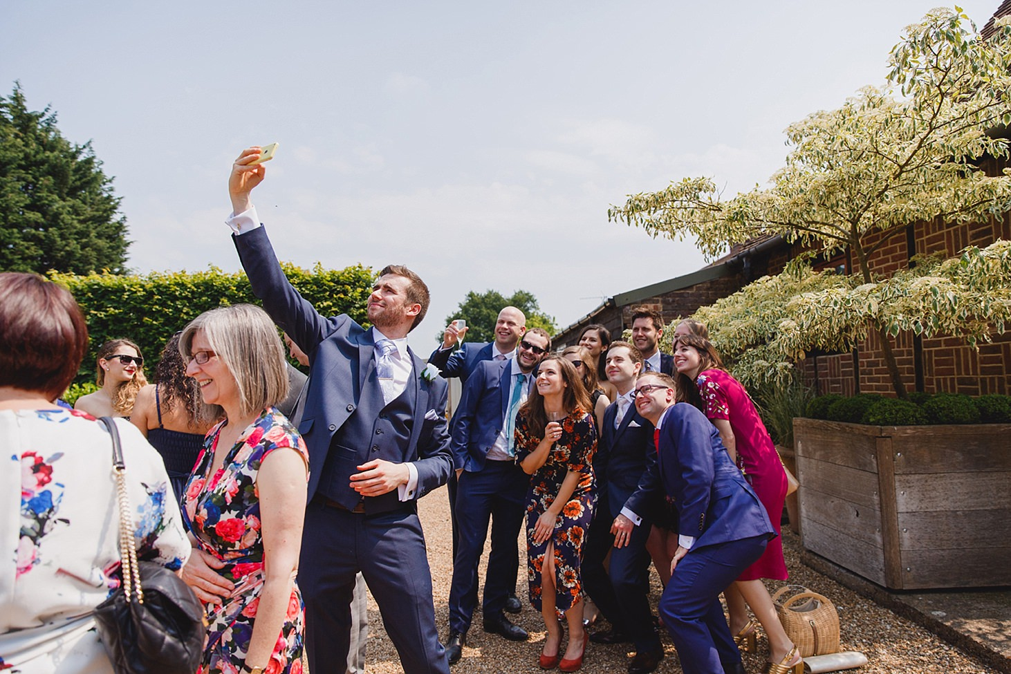 gate street barn wedding photography wedding guests taking selfie