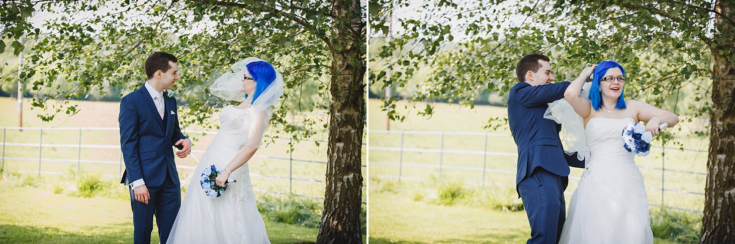 gate street barn wedding photography bride's veil in wind