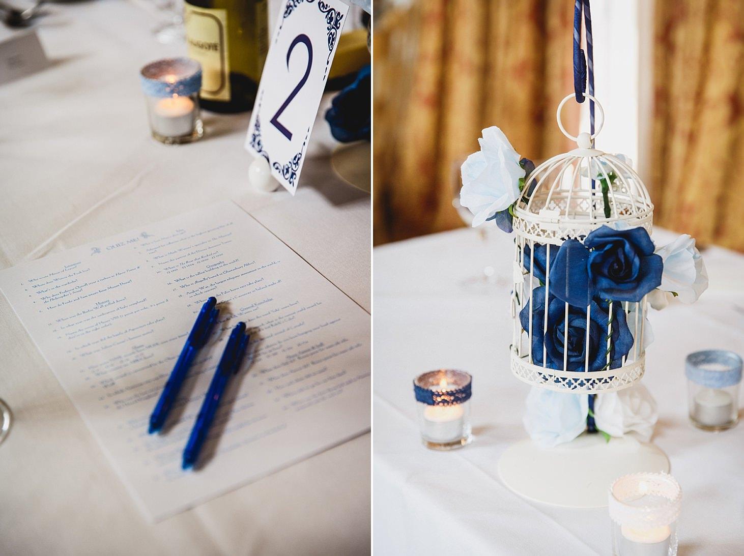 gate street barn wedding photography blue floral table decor