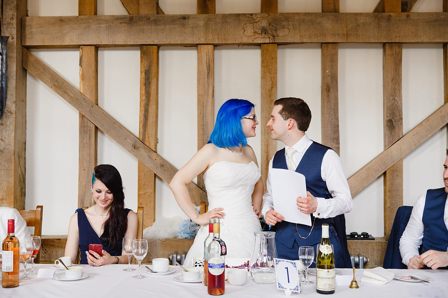 gate street barn wedding photography bride and groom smiling at each other
