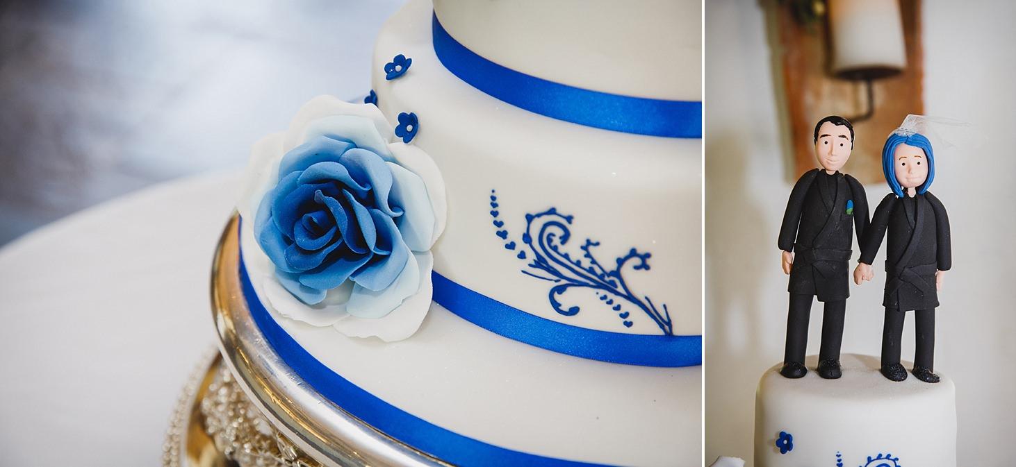 gate street barn wedding photography blue wedding cake