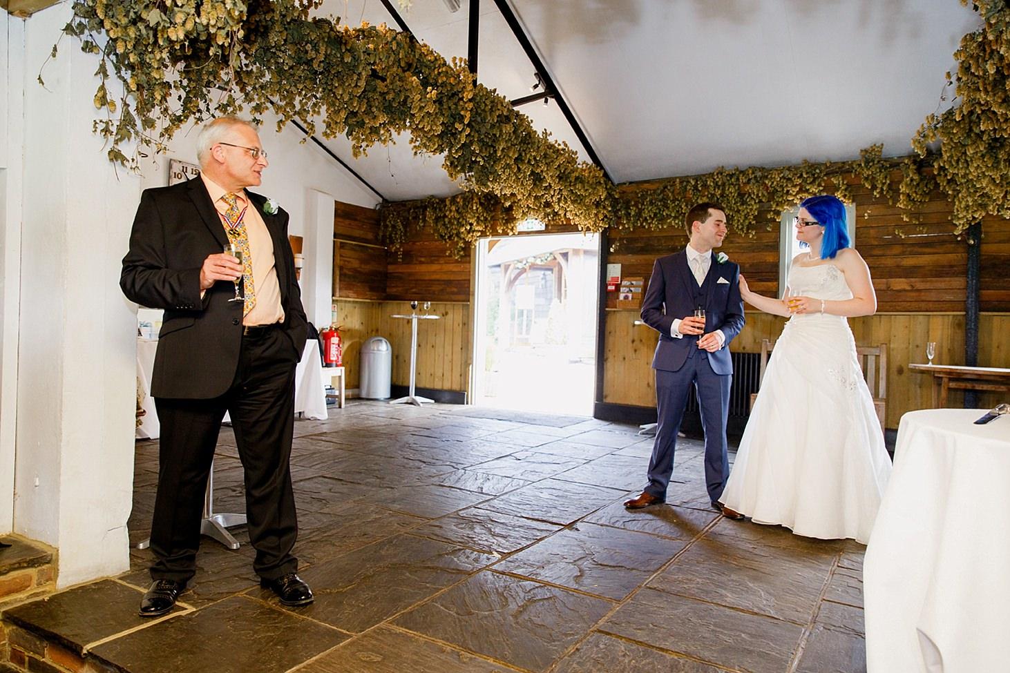 gate street barn wedding photography bride and groom during speech