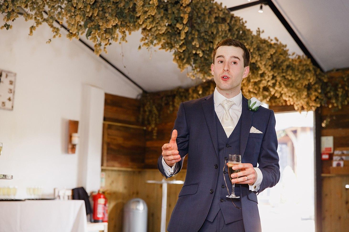 gate street barn wedding photography groom giving speech
