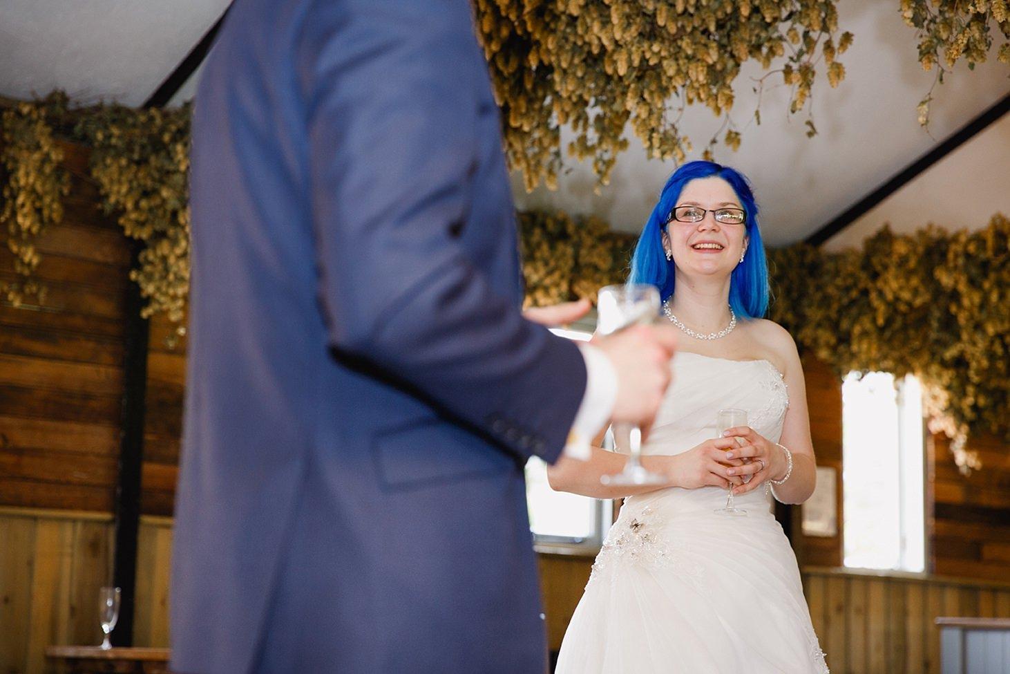 gate street barn wedding photography bride during speeches