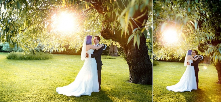 gate street barn wedding photography bride and groom in willow tree