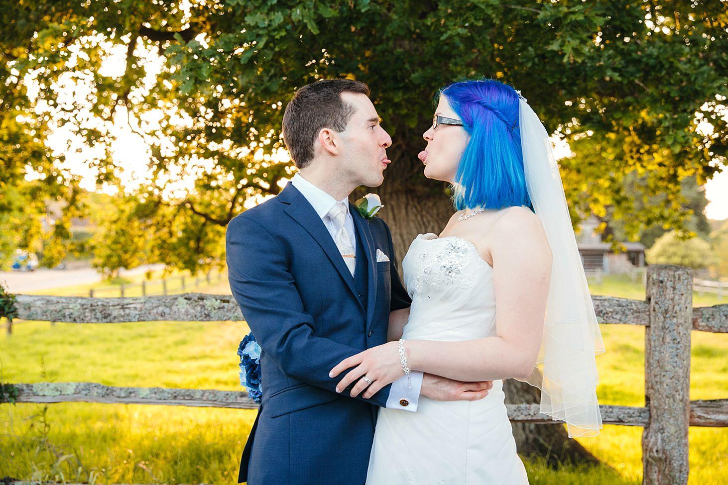 gate street barn wedding photography bride and groom fun portrait
