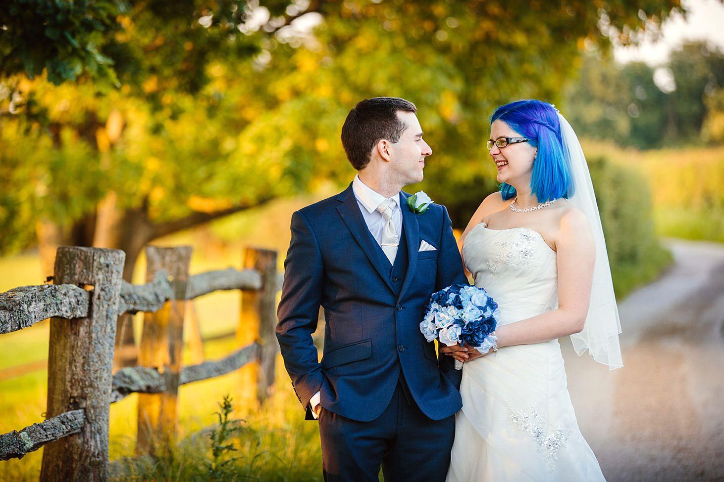 gate street barn wedding photography bride and groom smiling