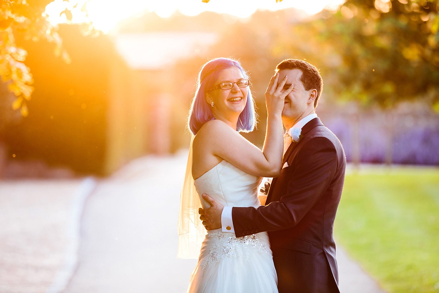 gate street barn wedding photography fun portrait of bride and groom