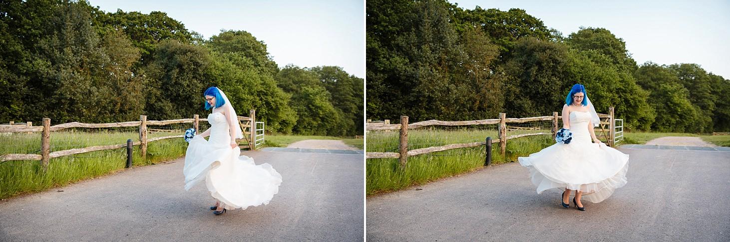 gate street barn wedding photography bride twirling