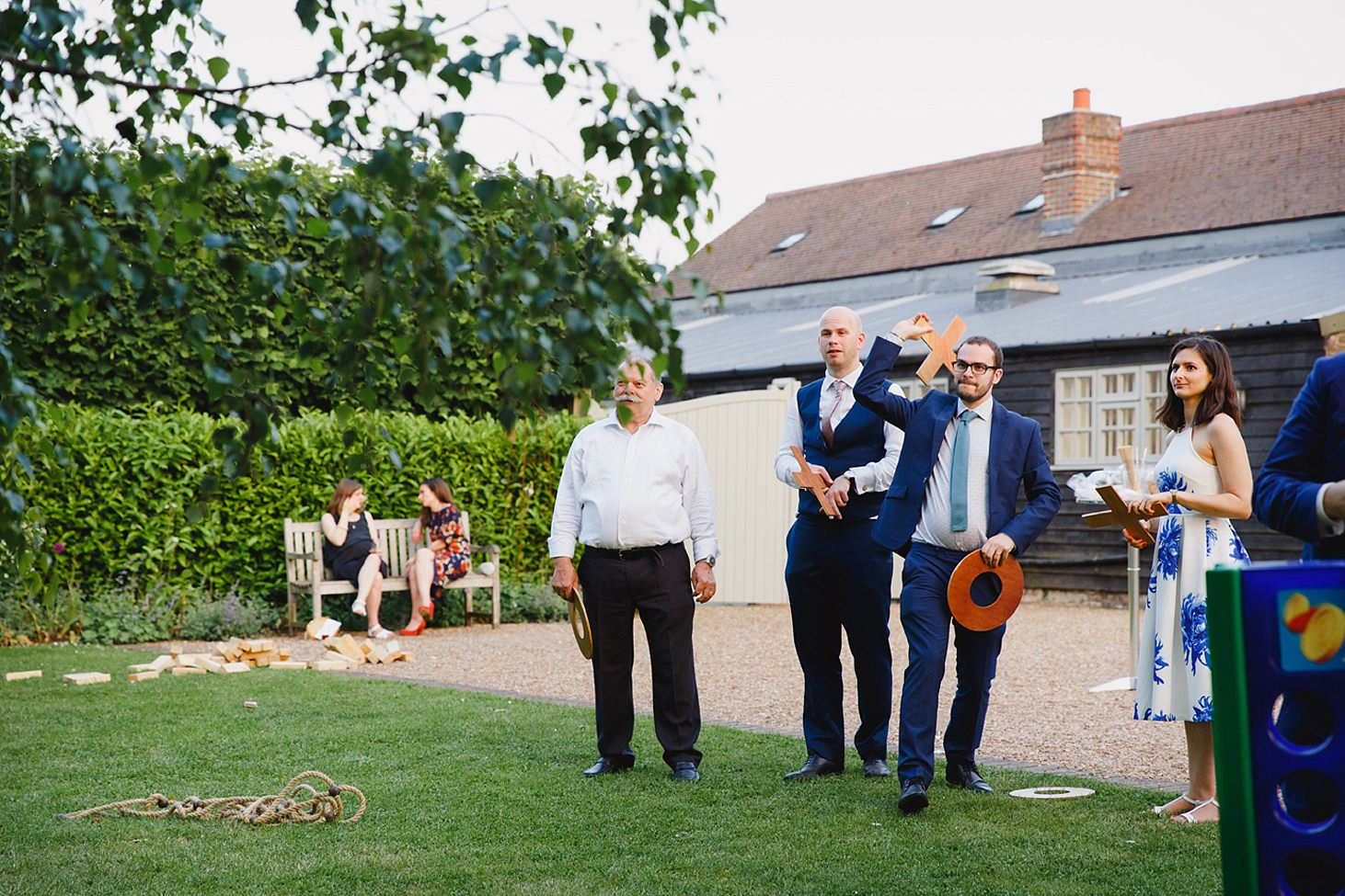 gate street barn wedding photography wedding guests playing games